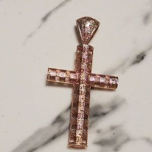 14k Rose Gold Cross